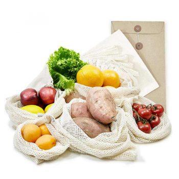 5 Obst- und Gemüsebeutel aus Baumwolle